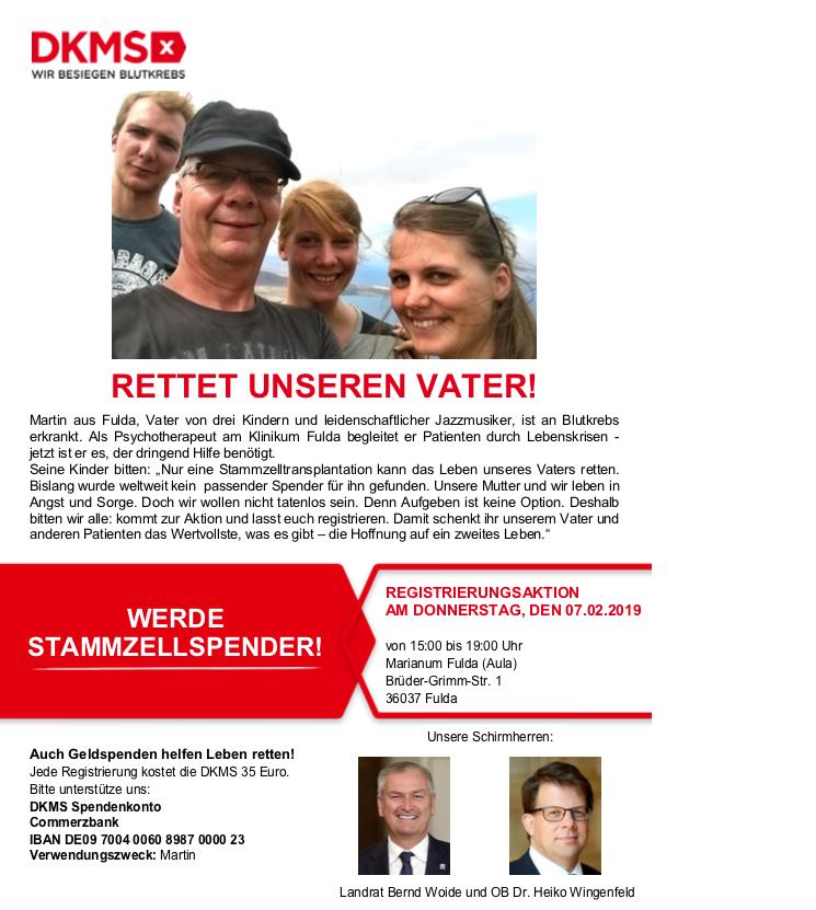7.2.2019 Dringend Stammzellenspender gesucht!